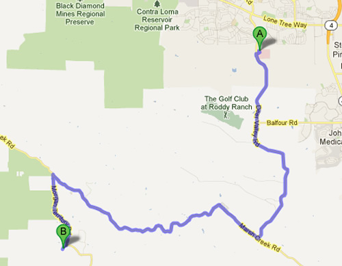 Directions from Antioch to Camp Four Paws