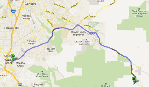 Directions from Ygnacio Valley Road Walnut Creek to Camp Four Paws
